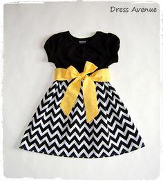 Gray and yellow chevron dress