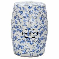 "Ceramic garden stool with a toile motif and cutout details.   Product: Garden stoolConstruction Material: CeramicColor: Blue and multiDimensions: 18.5"" H x 13"" DiameterCleaning and Care: Professional cleaning recommended"