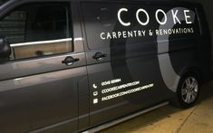 Simple and reflective van sign writing for C. Car Signs, Vinyl Signs, Van Signwriting, Van Signage, Nissan Elgrand, Sign Writing, Writing Ideas, Vehicle Signage, Van Car