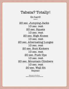Tabata training | Fifi's Fat Farm