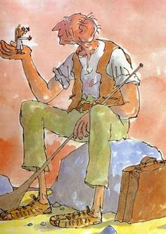 An illustration by Quentin Blake of the BFG (or, for those unfamiliar with his work, the big, friendly giant) from Roald Dahl's children's book of the same name. One of my all-time favorites!