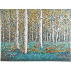 Slender white birches stand in vivid contrast to clusters of luxuriant teal foliage in our unique, hand-painted acrylic reproduction. Rich in detail and bold, saturated color, it makes a strong statement. What is it saying to you?