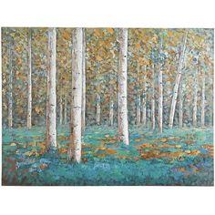 Birch Trees Art - Teal