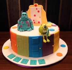 Kerstie made this Monsters Inc. cake - where's Boo hiding, is she behind the door? #disneycakes