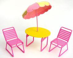 Vtg 1980s Barbie Beach Blast Lot Patio Table Chair Umbrella Pink Pool Furniture #Mattel