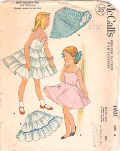 1950s McCalls 1931 Childs Full or Half Slip Crinoline Petticoat girls vintage sewing pattern Pattern by mbchills