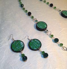 Cristina Crijoux: Un po' di verde: green discs!! completo collana e orecchini con inserti in Fimo