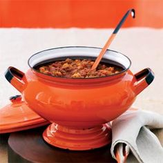 DEVILISH CHORIZO CHILI w/ HOMINY - this can made up to 2 days ahead of time, and the flavors get better as they spend time together!  Bring it on your next camping trip and reheat in your dutch oven over the fire, stirring often. Nice way to keep warm on a chili night: warm chili and SPICE!