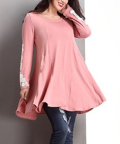 Another great find on #zulily! Pink Lace Appliqué Swing Tunic - Plus #zulilyfinds