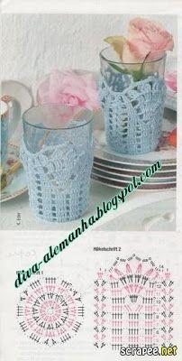Rabarbarum: Ozdoba na szklankę. Knitting ProjectsKnitting For KidsCrochet ProjectsCrochet Bag Crochet Diagram, Crochet Chart, Crochet Motif, Crochet Designs, Crochet Doilies, Crochet Flowers, Crochet Patterns, Crochet Cup Cozy, Crochet Bowl