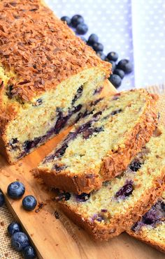Coconut and blueberry together in one scrumptious sweet bread. This soft and moist bread is so simple and delicious, packed with blueberries and toasted coconut.