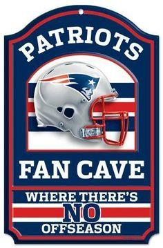 New England Patriots Sign 11x17 Wood Fan Cave Design