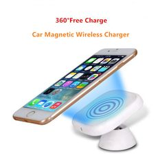 360 Rotation Car Magnetic Qi Wireless Charger Dock For iPhone 5S 6S Plus Galaxy S7 S6 Edge+ Note 5 Lumia 830 920 950XL Moto Maxx