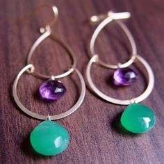 Royal Green Onyx Purple Gold Chandelier Earrings