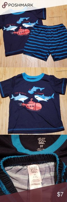 NWT The Childrens Place Shark Glow in the Dark Boys Short Sleeve Pajamas Set