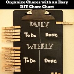 Easy DIY Chore Chart - family chores organization ideas - Getting Organized - 50+ Easy DIY organization Ideas To Help Get Organized