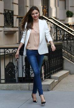 With white jacket Джинсовая Одежда, Модные Наряды, Женская Мода, Наряды С  Блейзерами, 43326484941