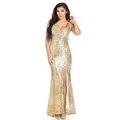Geo Pattern Sequin Design Open Back Side Slit Mermaid Tail Maxi Dress... ($80) ❤ liked on Polyvore featuring dresses, sequin maxi dresses, v neck dress, print maxi dress, white dress and sequined dress