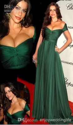 Wholesale Celebrity Dresses - Buy 2014 Sexy New Off The Shoulder Dark Green Chiffon Ruffles Prom Dresses Floor Length Ruffles Red Carpet Celebrity Dresses Tbe11426, $94.31 | DHgate