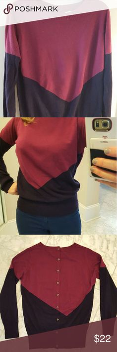 Cranberry and Eggplant Sweater This was a sweater from Stitch Fix, with an adorable button design in the back.  The diagonal shapes in front and back are very slimming and figure-flattering. The top color is cranberry and the bottom one is a deep eggplant. 41 Hawthorn Sweaters Crew & Scoop Necks