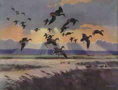 Mallards in a Stormy Sky by Peter Scott