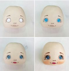 Doll eyes diy faces Ideas - Her Crochet Doll Face Paint, Doll Painting, Doll Crafts, Diy Doll, Fabric Toys, Fabric Crafts, Doll Clothes Patterns, Doll Patterns, Sewing Dolls