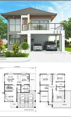 2 Storey House Design, Simple House Design, Bungalow House Design, House Front Design, Minimalist House Design, Modern House Design, House Plans Design, Dream Home Design, Modern House Floor Plans