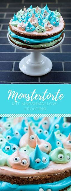 Monster cake with marshmallow frosting / cream. Delicious recipe for birthdays, . Leckeres Rezept für Geburtstage,… Monster cake with marshmallow frosting / cream. Cupcakes, Cake Cookies, Cupcake Cakes, Cake Icing, Cake Fondant, Cupcake Frosting, Bolo Vegan, Vegan Cake, Dessert Halloween
