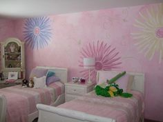 Girls Bedroom with faux finish and hand-painted large florals-Tessa's room-Liz Flowers-Design By Paint