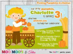 Printable PICKING PUMPKINS Fall or Birthday Party Invitation by Moo Moo's & Tutus Design Studio. $12.50, via Etsy.