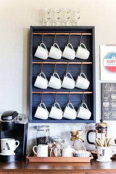 Cute coffee bar with hanging mugs