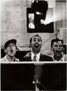"oldhollywoodfilms: ""Gene Kelly, Jules Munshin, and Frank Sinatra record their vocals for On the Town "" Old Hollywood Stars, Golden Age Of Hollywood, Classic Hollywood, Boys On Film, An American In Paris, Music Happy, Gene Kelly, Singing In The Rain, Film Director"