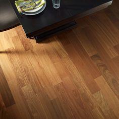Up close image of santos mahogany hardwood flooring by Johnson.