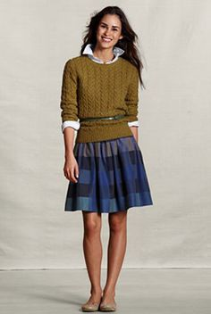 When did taffeta get cool? When it got an updated color palette and a shorter silhouette.    Land's End Canvas Gathered Plaid Taffeta Skirt