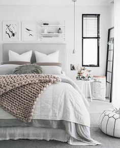 Gray Bedroom Ideas Gray is the new white! Love the way this color is paired with serene tones for a calming bedroom decor.Gray is the new white! Love the way this color is paired with serene tones for a calming bedroom decor. Dream Bedroom, Home Decor Bedroom, Bedroom Furniture, Bedroom Bed, Bedroom Inspo, Bedroom Colors, Furniture Plans, Calm Bedroom, Kids Furniture