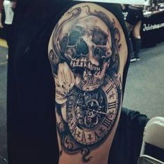 Skull and time tattoo