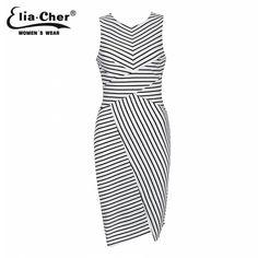 Купить Elia Cher бренд лето 2015,платье в черно белую полоску, стройнит,большой размер, женская повседневная одежда и другие товары категории Платья в магазине Elia cher на AliExpress. одеёды в архиве и платье тройник