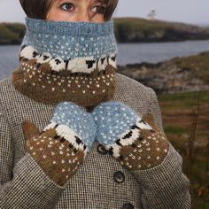 These mittens and cowl have been designed to go with the Baa-ble hat, the pattern I designed and was used as the official hat pattern for Shetland Wool Week 2015. The set is knitted in Jamieson's of Shetland Heather Aran weight 100% wool and are knitted at a fairly tight gauge to keep out the wind. The original design was inspired by my surroundings in the winter – the sheep and colours of the croft I live on in Shetland.