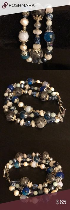 """🐬3 Strand Gemstone Bracelet handcrafted This gorgeous one of a kind 3 Strand bracelet is made with blue labradorite rounds, faceted blue agate rounds, blue lace agate rounds, gray, blue and white freshwater pearls, rainbow moonstone, Swarovski crystals and blue mother of pearl shell rounds with a toggle clasp. Bracelet measures 8 1/2 - 8 3/4""""Designed and handcrafted by me. Bracelet will arrive in an organza pouch. Jewelry Bracelets"""