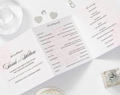 Navy wedding Order of Service pearlescent card z by ITheeWedEtsy
