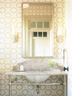 Fun Powder Room Wallpaper - Design photos, ideas and inspiration. Amazing gallery of interior design and decorating ideas of Fun Powder Room Wallpaper in bathrooms, basements by elite interior designers - Page 18 Bad Inspiration, Bathroom Inspiration, Console Sink, Interior Styling, Interior Design, Powder Room Design, Hill Interiors, Room Tiles, Geometric Wallpaper