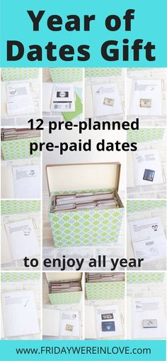 Year of Dates Gift: A Folder of 12 Dates to Enjoy All Year - Friday We're in Love