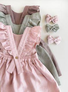 Linen Baby Dress Toddler Ruffle Dress Linen Pinafore 1st | Etsy