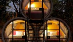 """Tubohotel: Concrete Tubing Recycled Into Affordable, """"All Tube"""" Hotel Tubo Hotel of (Mexico). Eco-friendly hotel with 20 rooms made entirely of recycled concrete pipes. Architecture Design, Amazing Architecture, Hotel Architecture, Building Architecture, Eco Pods, Recycled Concrete, Precast Concrete, Recycled Materials, Recycled Homes"""