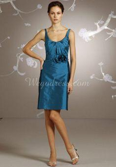 Taffeta Sleeveless Scoop Neck A-line Mini Pleated Bridesmaid Dress