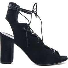 Saint Laurent Babies Suede Lace Up Heel Sandals (3.205 RON) ❤ liked on Polyvore featuring shoes, sandals, heels, cutout sandals, lace up heel sandals, suede sandals, lace up shoes and leather sole shoes