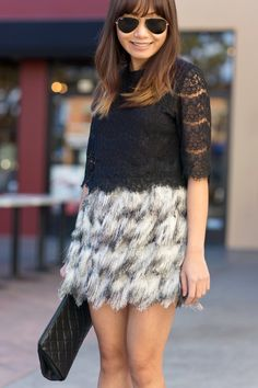 lace crop top, fringe mini skirt, Valentine's date night outfit, petite fashion blogger, Style on Friday