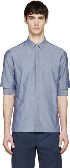 Krisvanassche: Blue Chambray Gathered Sleeve Shirt | cuff detail