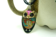 Spoon pendant with whimsical owl design comes with necklace, gift for her on Etsy, $14.80