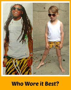 Lil' Wayne or Lil' Wynn? #minirodini #tigerprint #tiger #whoworeitbest #lilwayne #boysfashion